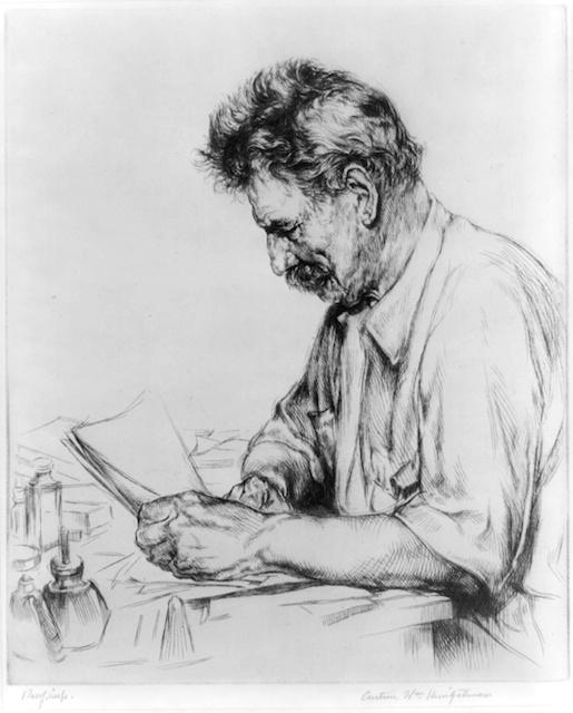 Albert Schweitzer in the 1950s, Etching by Arthur William Heintzelman