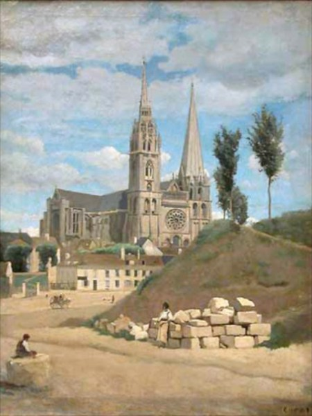 Chartres Cathedral painted by Camile Corot (1830)