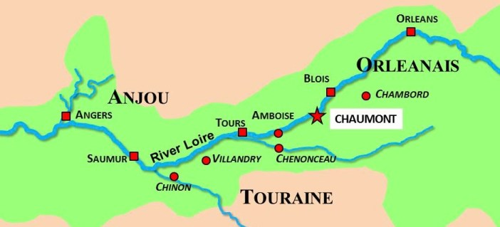 Situation Map of Chaumont-sur-Loire © French Moments