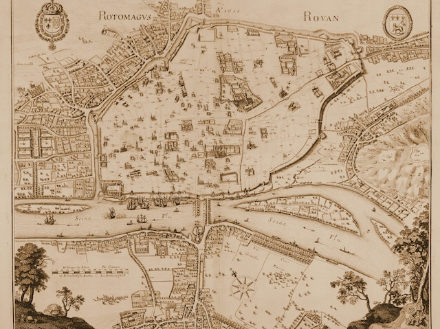 Engraved birdeye view of Rouen at the River Seine 1657