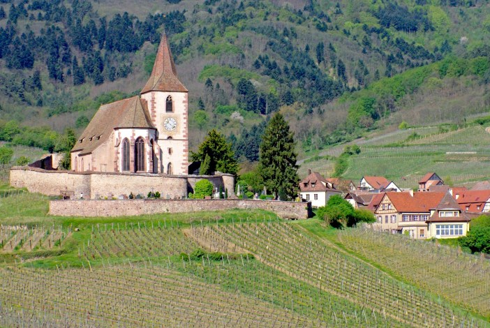 The fortified church of Hunawihr above the vineyards © French Moments