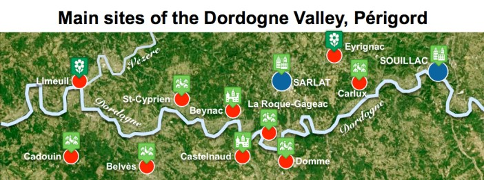 Maps of Dordogne Valley Périgord Noir - Main Sites