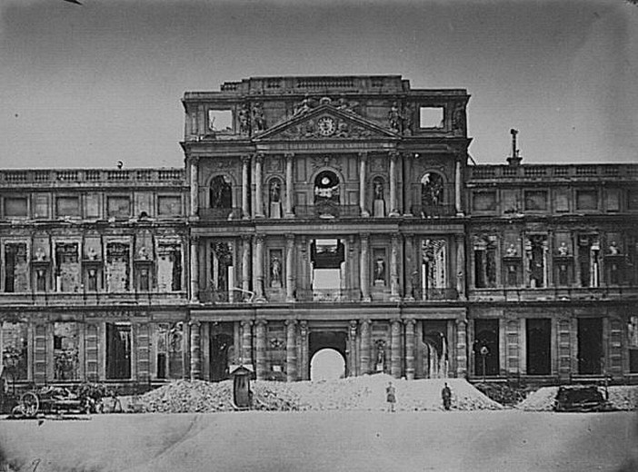 The Tuileries Palace in the 1870s after being destroyed by a fire