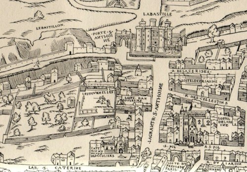 Hôtel des Tournelles circa 1550, the location of Place Royale now Place des Vosges