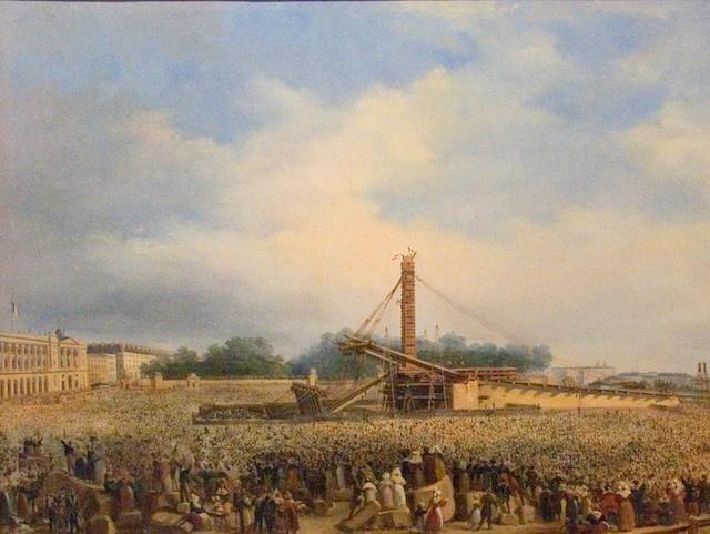 Erection of the Luxor Obelisk on Place de la Concorde in 1836