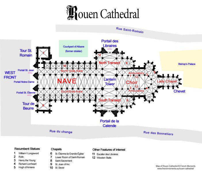 Rouen Cathedral Floor Plan copyright French Moments