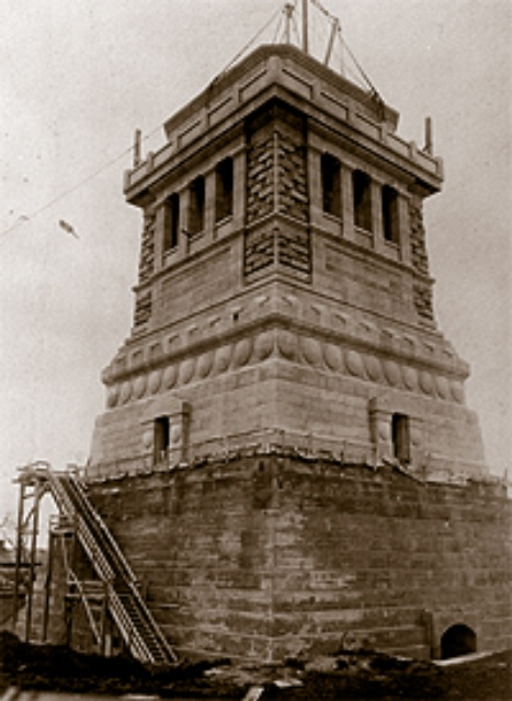 The Pedestal of the Statue of Liberty under construction in NYC