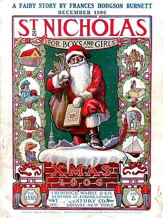 "A red-dressed Santa in 1906 on a Christmas card, still bearing his ""St. Nicholas"" name!"