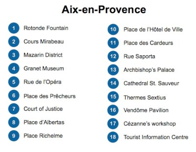 Aix-en-Provence Map Legend © French Moments