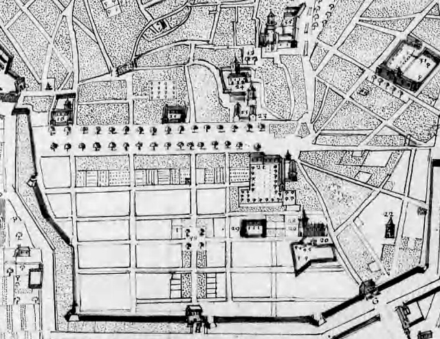 Map of Cours Mirabeau and Aix' Mazarin District by Joseph Pitton in 1666