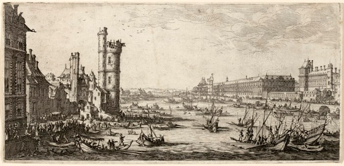 Engravings of annual jousting contest on river Seine in Paris by Jacques Callot in 1630