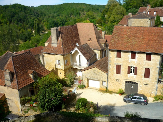 View of Place des Fossés from the castle grounds, Limeuil, Périgord © French Moments
