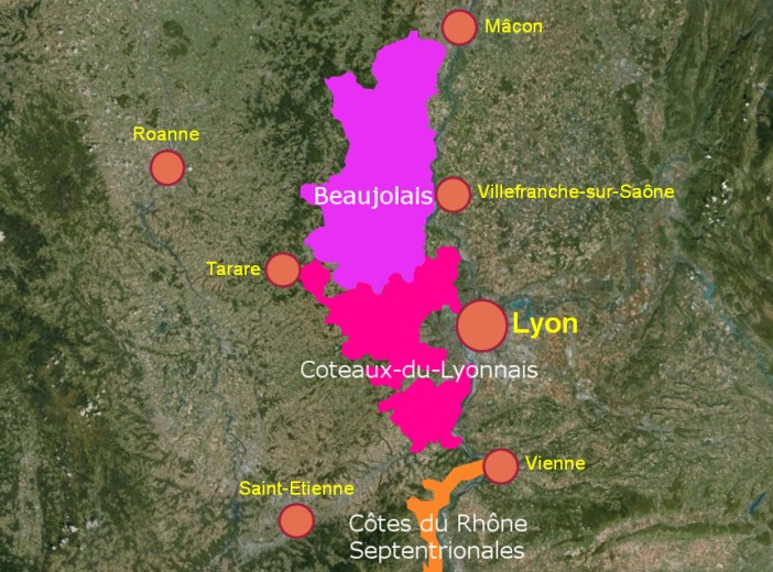 Map of the Lyon area vineyards