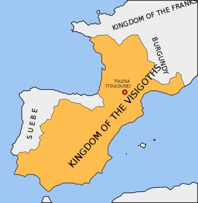 Wisigoths Kingdom around 500 AC © Lupo GFDL from Wikicommons