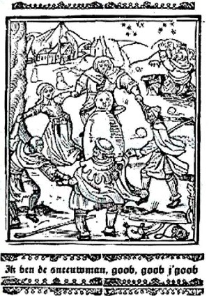 People are dancing around a snowman – woodcut from 1511