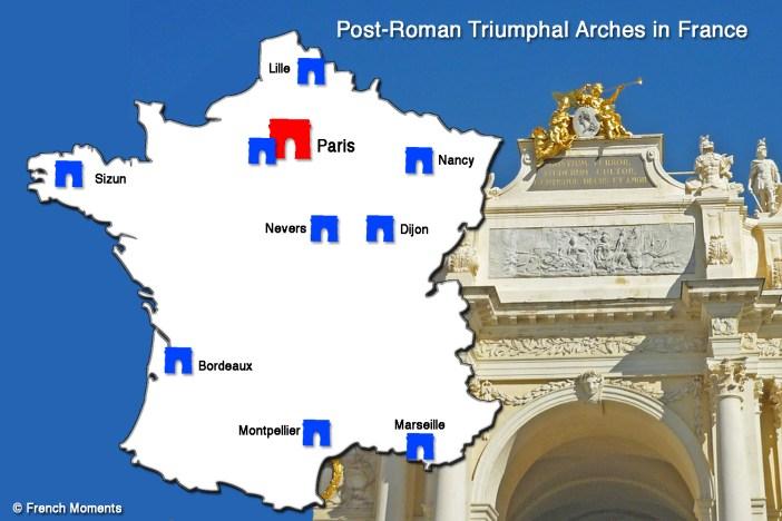 Carte Arcs de Triomphe en France © French-Moments