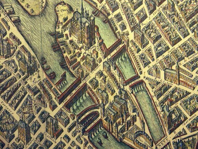 Map of the Île de la Cité circa 1609