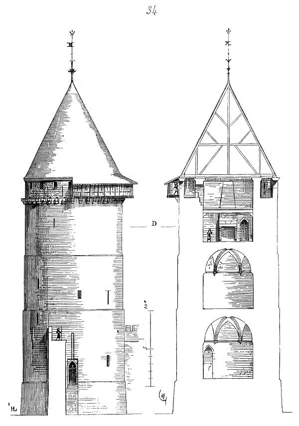 Vue en coupe du donjon du château de Rouen