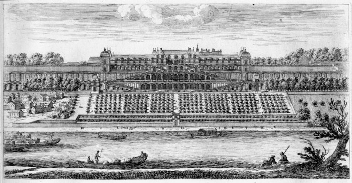 Etching of Château-Neuf in Saint-Germain-en-Laye