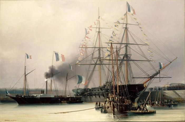 Transfer of the remains from the Belle-Poule to the Normandie in Cherbourg - Depiction by Antoine Léon Morel-Fatio