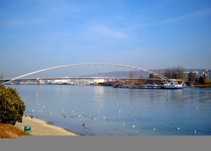 Main Rivers in France: The Three Countries footbridge spanning the Rhine at Huningue © French Moments