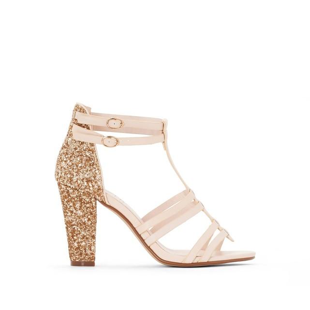 Sandales à paillettes dorées