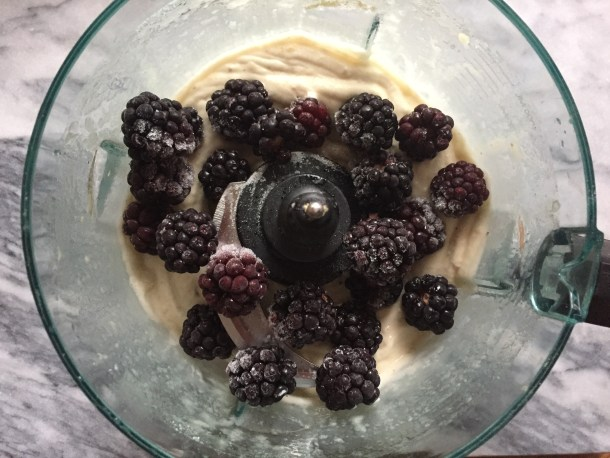 Blackberry Banana Nice Cream, pre blending