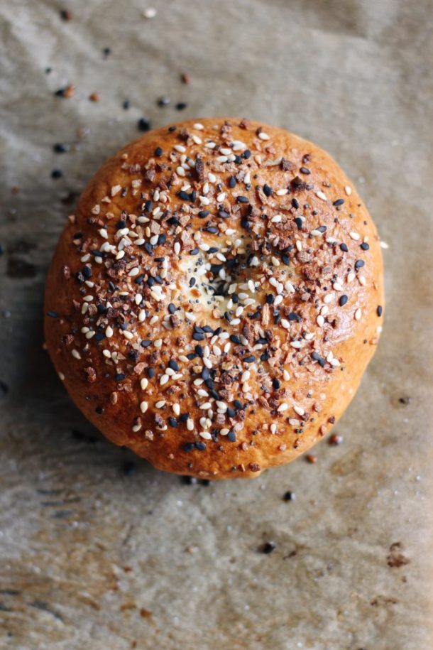 Everything Bagel - a modified version of a New York style classic. Savory and chewy, perfect with vegan cream cheese.