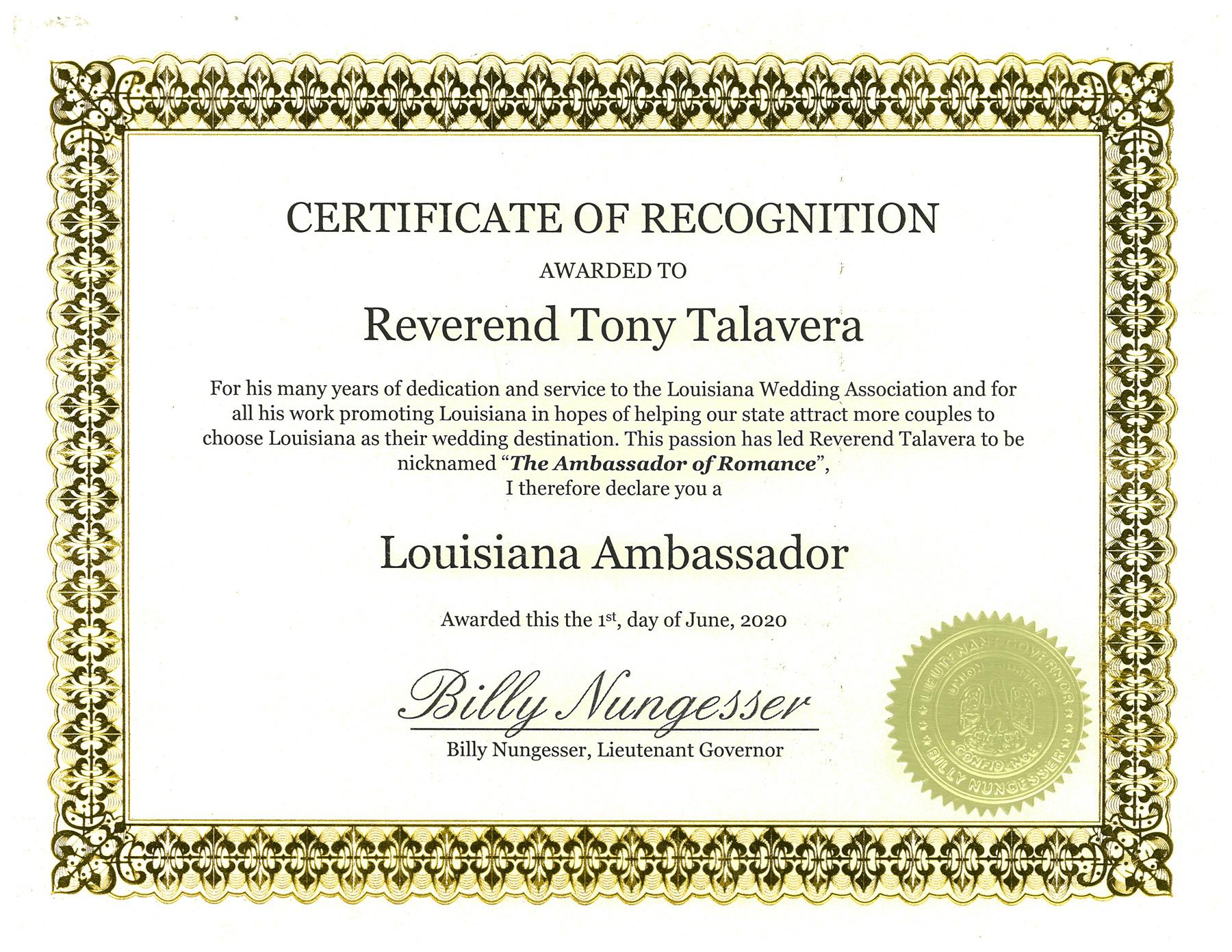 Louisiana Ambassador Certificate Rev Tony Talavera