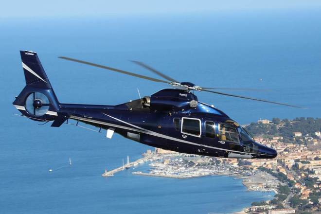Helicopter flying over the Port of St Tropez