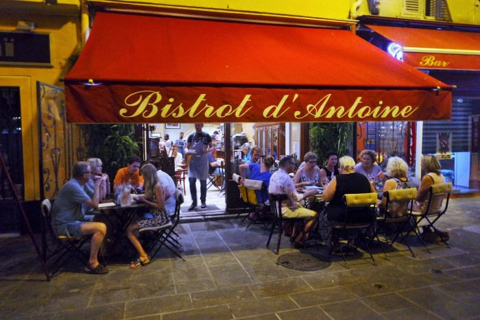 Bistrot d'Antoine restaurant in the old town of Nice, France
