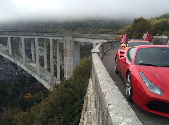 Ferrari crossing bridge in the south of France