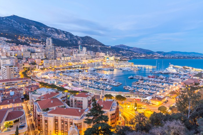 The Principality of Monaco by night