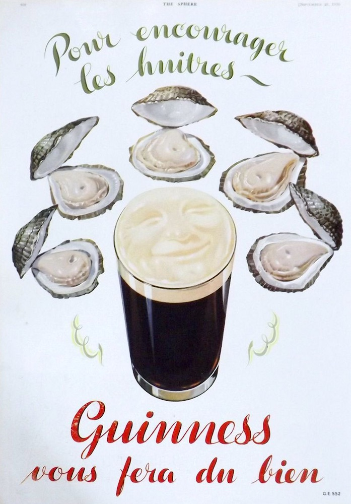 Guinness advert with oysters