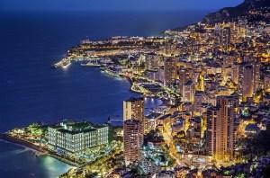 Aerial view of Monaco at dusk