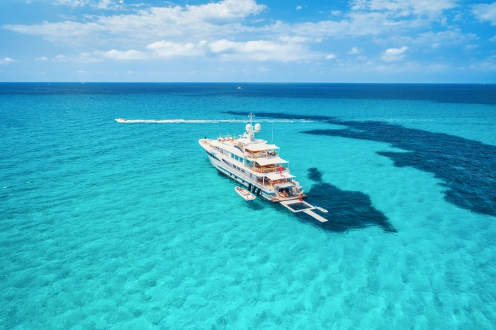 Superyacht at anchor in the Balearics