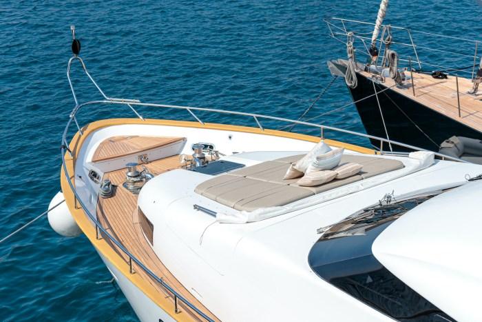 Sunbathing area on bow of luxury yacht