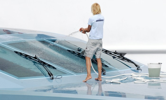 Washing a luxury yacht