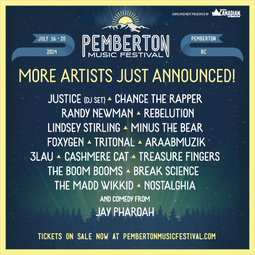 PEMBERTON MUSIC FESTIVAL w/JUSTICE, OUTKAST, METRIC, SNOOP DOGG, AND MORE