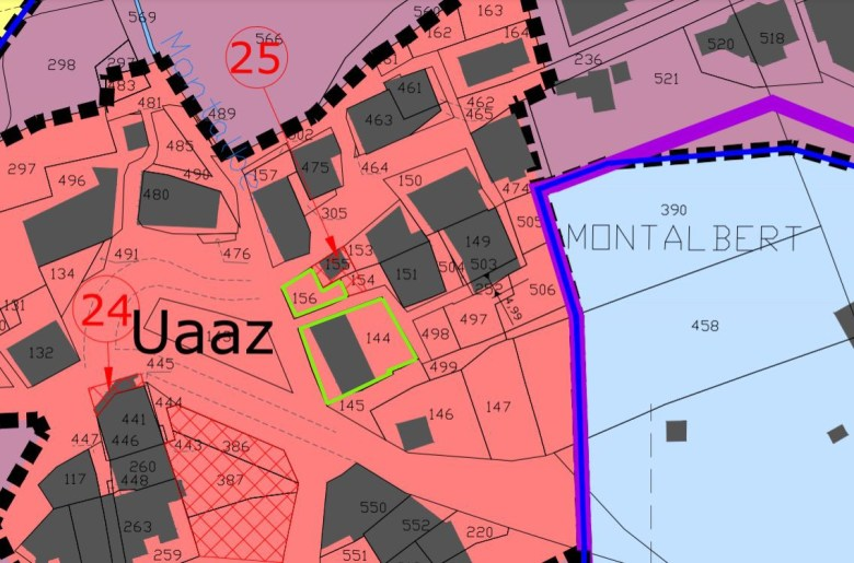 Cadastral plan Montalbert Centre for building plots