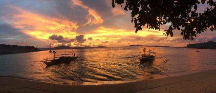 Coucher de soleil, Port Barton, Palawan