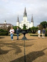 Traditional Cliched Tourist Shot of Jackson Square and the Incredible Church of the Archdiocese of New Orleans St. Louis Cathedral in the background. No, this is not Disney World, this is real.