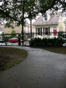 Exterior view of the Parkview Marigny, 2 blocks from the French Quarter, New Orleans Lousianna. Photo taken from the park. Don't let the exterior simplicity fool you, it is incredibly elegant.