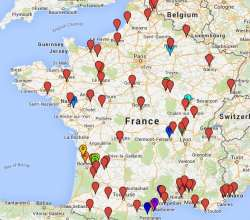 Map of vineyard self-catering in France