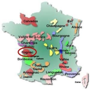France map - Cognac