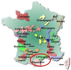 map of Languedoc-Rousssillon wine region