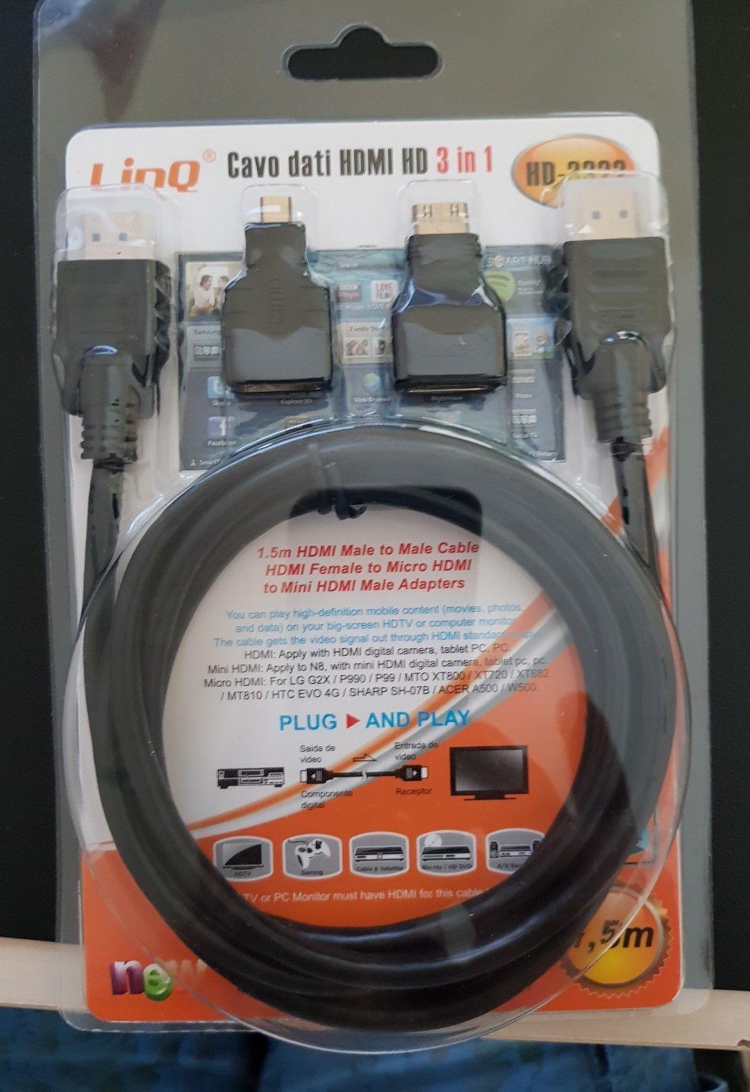 Cavo Hdmi 3 In 1 Con Adattatori Micro E Mini Kabel 3in1