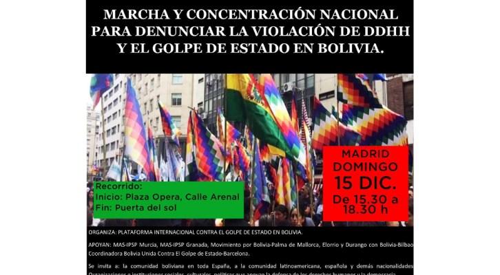 Marcha y Concentración Nacional para denunciar la violación de DDHH y el golpe de estado en Bolivia