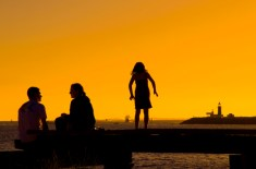 Family at sunset. Fremantle. W.A.