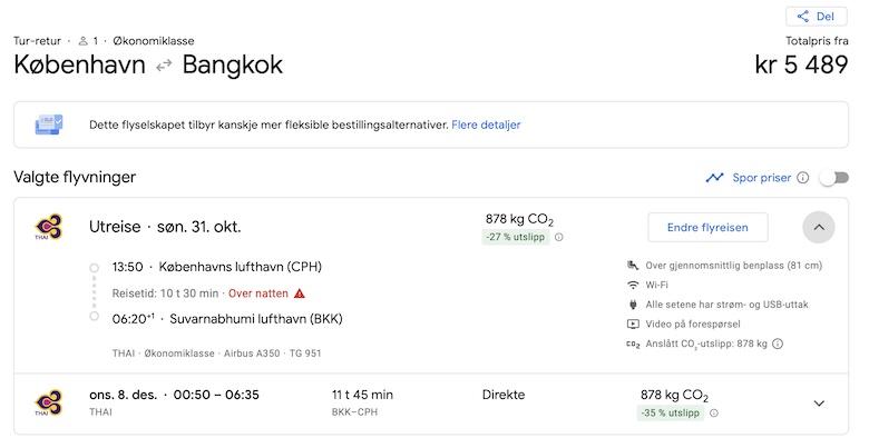 Thai Airways International (Thai) gjenopptar ruten til København fra 31. oktober 2021. Ruten vil i første omgang bli fløyet to ganger per uke
